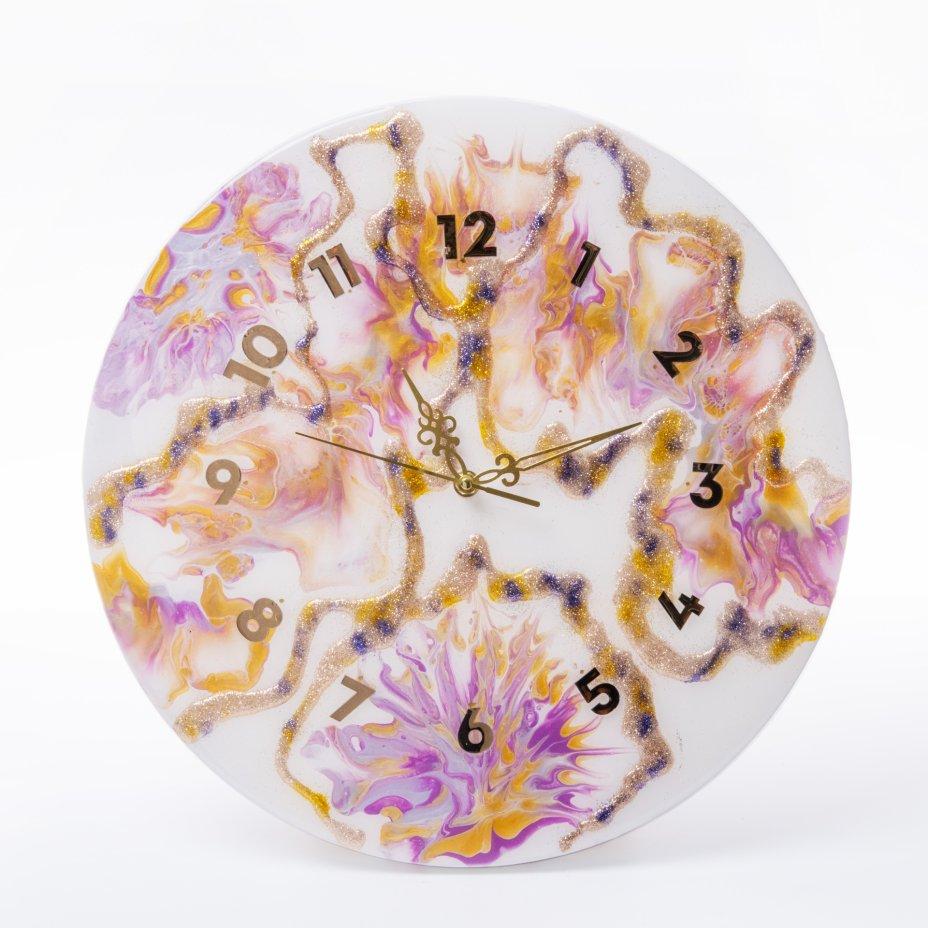 """купить Часы настенные """"Фейерверк"""", авторская ручная работа в технике Resin Art, Глянцевое 3D покрытие, металл, Россия, 2021 г."""