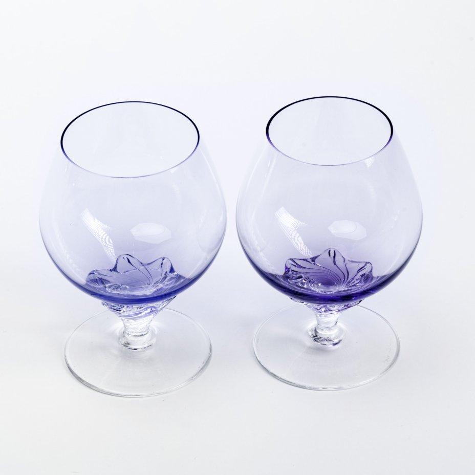 купить Набор из двух коньячных бокалов, марганцевое стекло, Чехословакия, 1970-1990 гг.