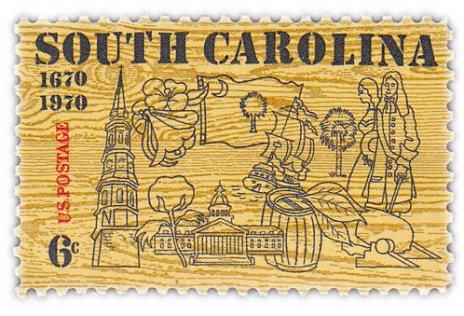 """купить США 6 центов 1970 """"300 лет штату Каролина"""""""