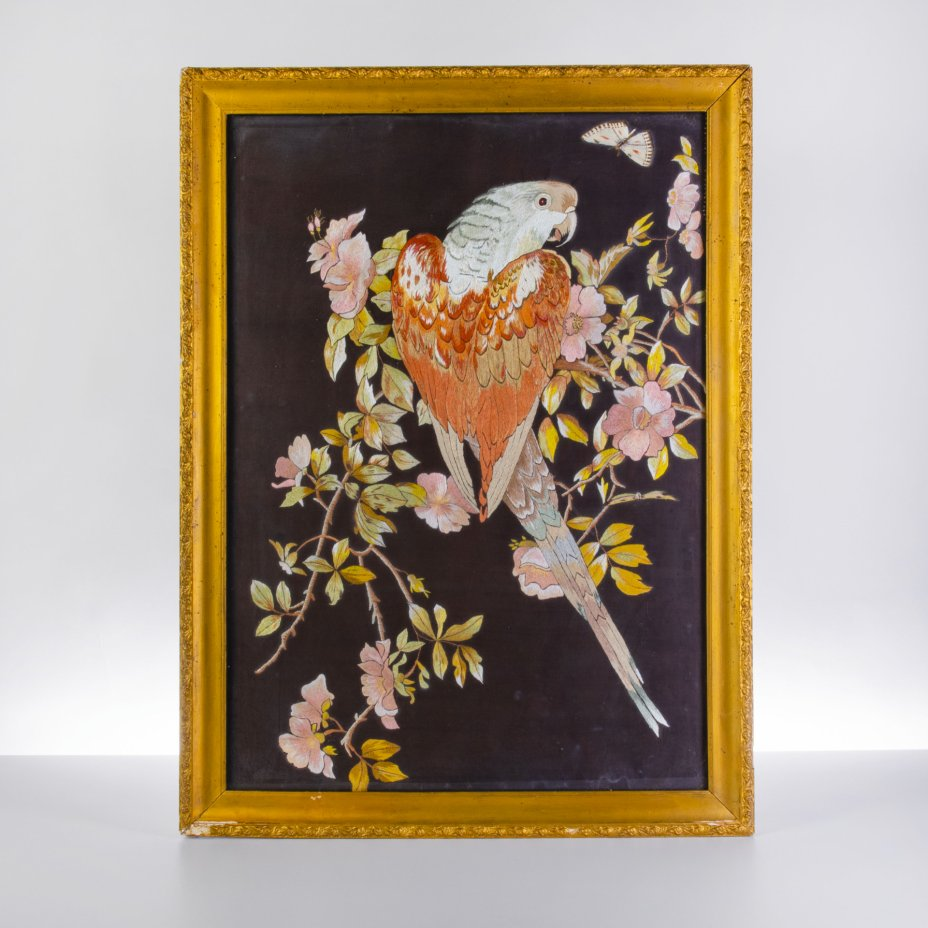 """купить Картина вышивная, на черном фоне """"Попугай на ветке"""", ткань, вышивка, рама, стекло, СССР, 1930-1960 гг."""