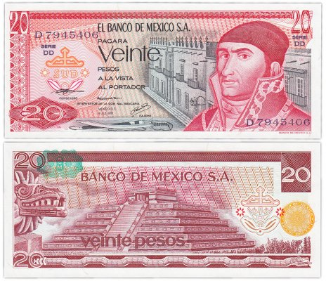 купить Мексика 20 песо 1977 (Pick 64d) Надпечатка оранжевая-зеленая