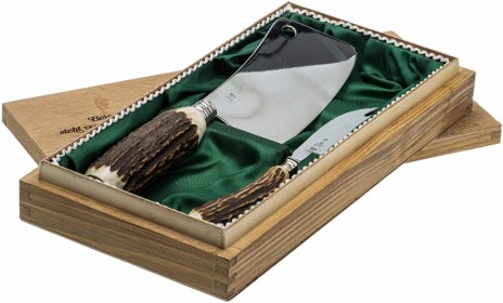 """купить Набор подарочный для разделки дичи (тесак и нож), сталь, золочение, в деревянном футляре, фирма """"Wickuler"""", г. Золинген, Германия, 1970-1980 гг."""