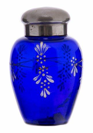 купить Емкость для хранения чая (чайница) с цветочным декором, кобальтовое стекло, роспись, металл, СССР, 1950-1980 гг.