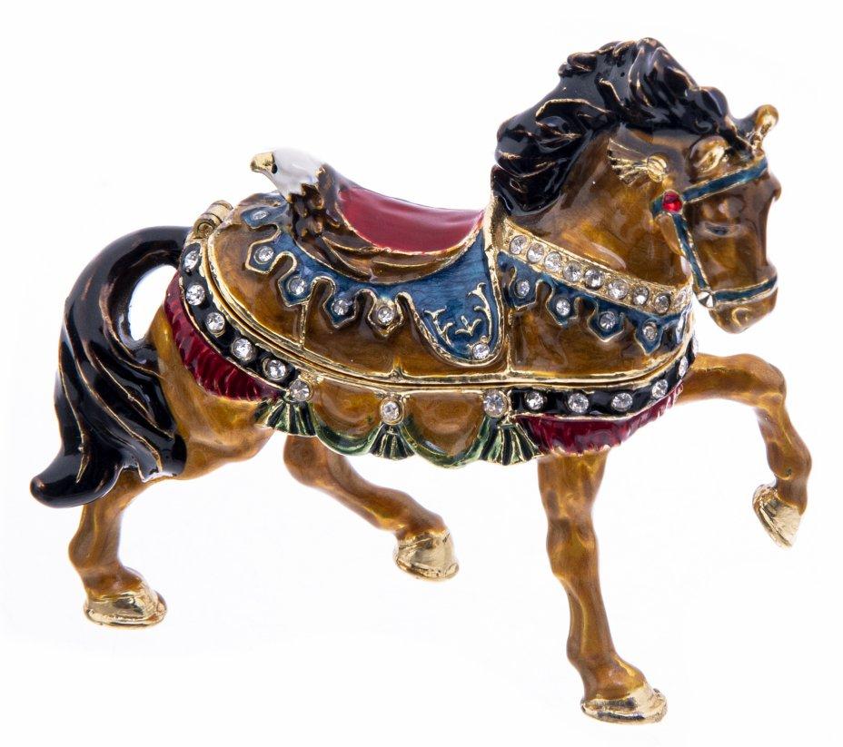 """купить Статуэтка (шкатулка) """"Лошадь"""", металл, эмаль, стразы, Китай, 2000-2020 гг."""