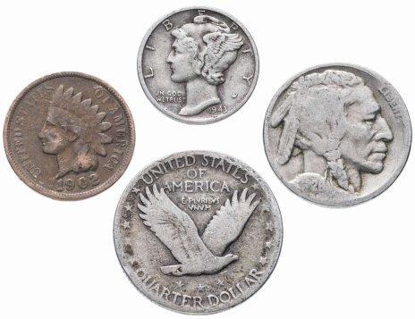 купить США комплект из 4-х монет от 1 до 25 центов 1880-1945 гг.