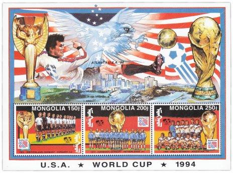 """купить Монголия блок из 3-х марок 1994 """"Чемпионат мира по футболу 1994. США"""""""