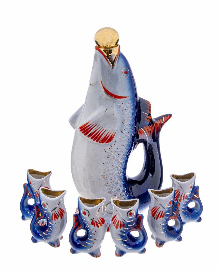 """купить Набор для напитков """"Рыба"""" (штоф и шесть стопок), Полонский ЗХК, СССР, 1956-1973 гг."""