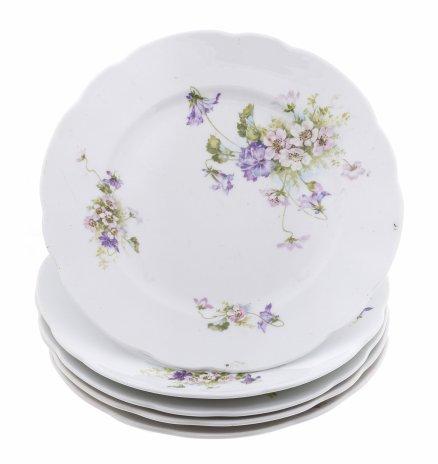 купить Набор обеденных тарелок на пять персон с цветочным декором, фарфор, деколь, Российская Империя, 1880-1917 гг.