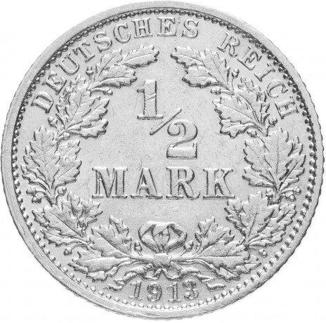 """купить Германия (Германская империя) 1/2 рейх марки 1913 """"G"""""""