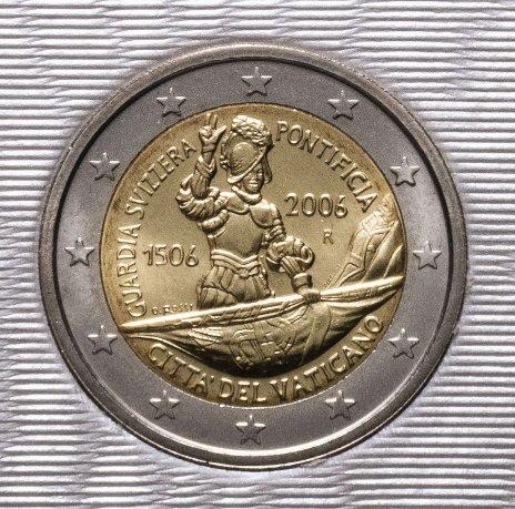 """купить Ватикан 2 евро 2006 """"Швейцарская гвардия"""", в буклете"""