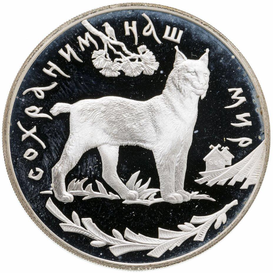 купить 3 рубля 1995 ЛМД Proof Сохраним наш мир Рысь