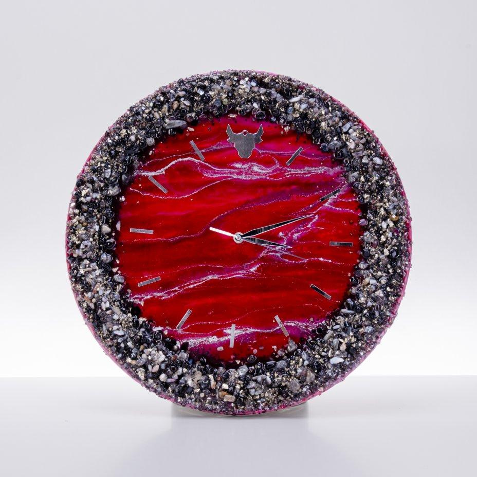 """купить Часы настенные """"Испанская фантазия"""", авторская ручная работа в технике Resin Art, Глянцевое 3D покрытие, натуральный камень, Россия, 2021 г."""