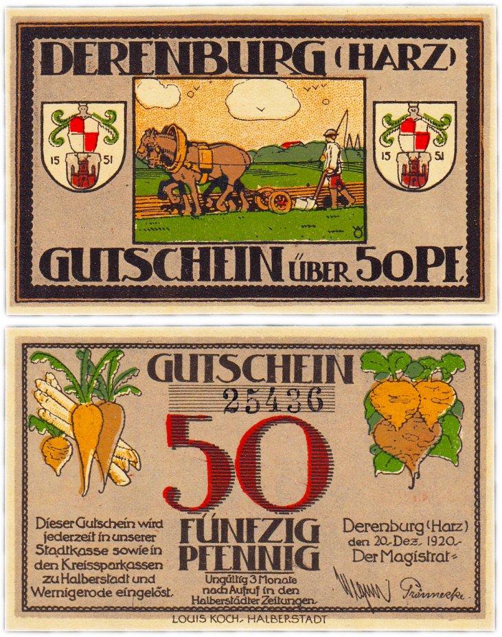 купить Германия (Саксония: Деренбург) 50 пфеннигов 1920 (263.1/В1)