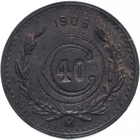 купить Мексика, город Толука, 40 сентаво 1915 периода Мексиканской революции, надчекан на 2 сентаво 1906