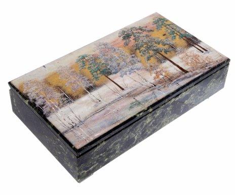 """купить Шкатулка (коробка) """"Весенний лес"""" для трех ножей, камень, СССР, 1970-1990 гг."""