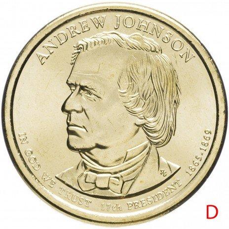 """купить США 1 доллар 2011 D """"17-ый Президент США - Эндрю Джонсон"""""""