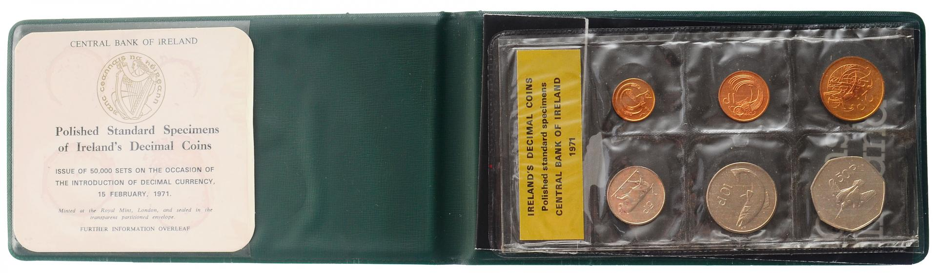 Ирландия набор монет 1971 года в буклете
