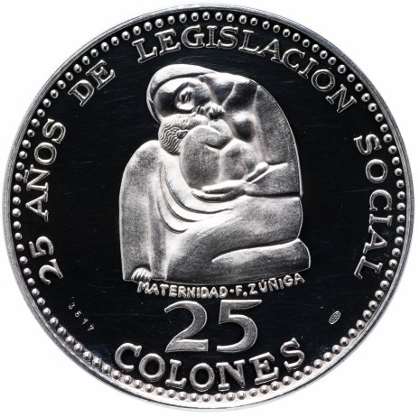 "Купить Коста Рика 25 колонов (colones) 1970 Proof ""25 лет законодательству о социальном обеспечении. Материнство"""