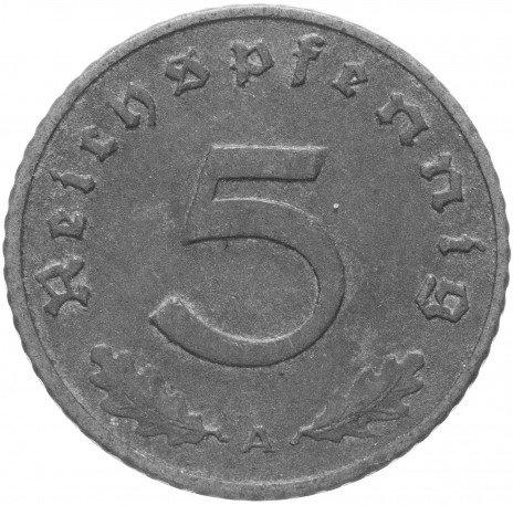 """купить Фашистская Германия (Третий Рейх) 5 рейх пфеннигов 1940 """"А"""""""