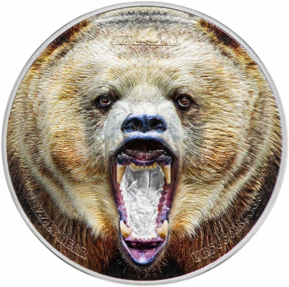 """купить Танзания 1500 шиллингов 2020 Proof """"Медведь гризли"""" в футляре с сертификатом"""