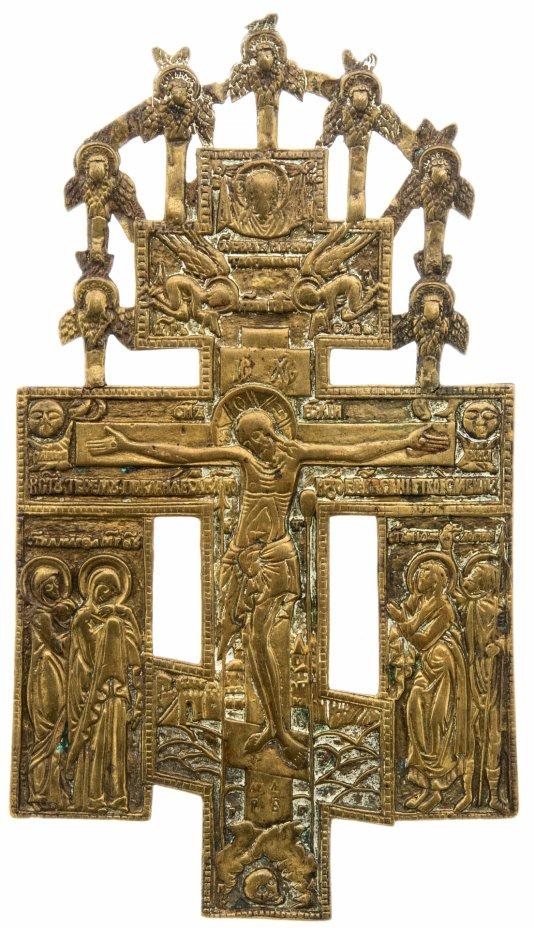 купить Крест киотный «Распятие Христово с избранными святыми», медь, литье, Российская Империя, 1850-1890 гг.