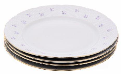 """купить Набор из четырёх тарелок с цветочным декором, фарфор, золочение, мануфактура """"Thun"""", Чехия, 1940-1960 гг."""