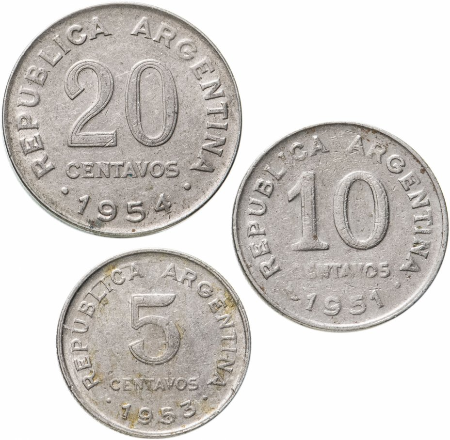 купить Аргентина, набор из 3 монет 1951-1955 Хосе де Сан Мартин