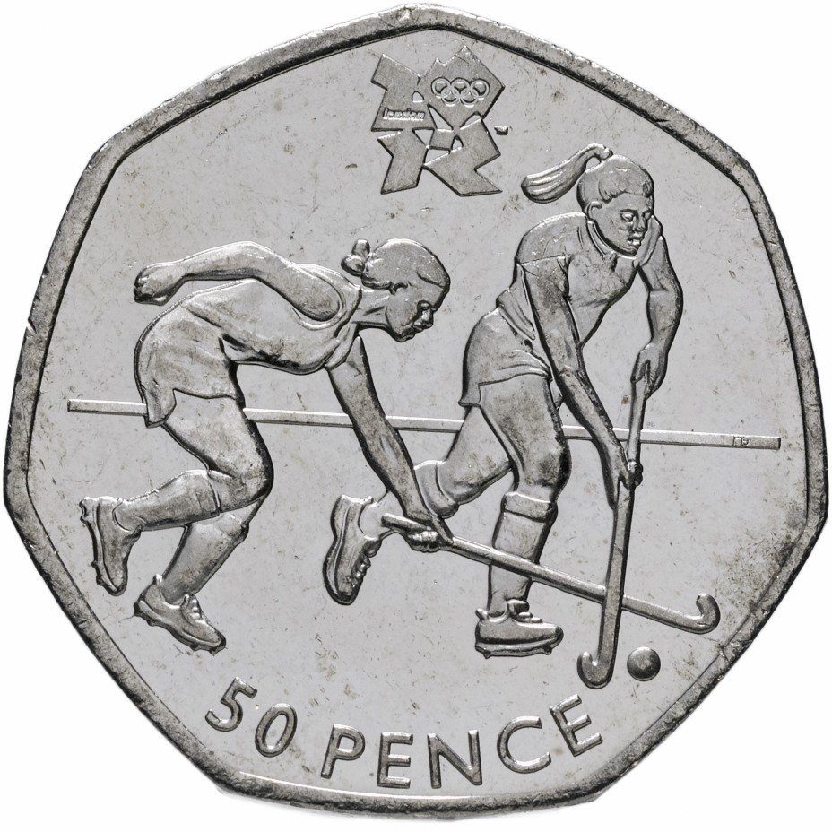 """купить Великобритания 50 пенсов 2011 """"XXX летние Олимпийские Игры, Лондон 2012 - Хоккей на траве"""""""