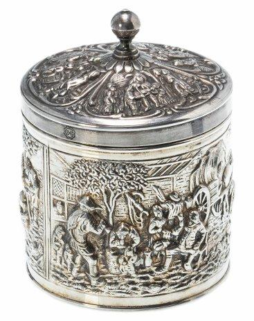 """купить Емкость для хранения чая (чайница), мельхиор с серебрением, фабрика """"Herbert Hooijkaas"""", Голландия, 1930-1960 гг."""