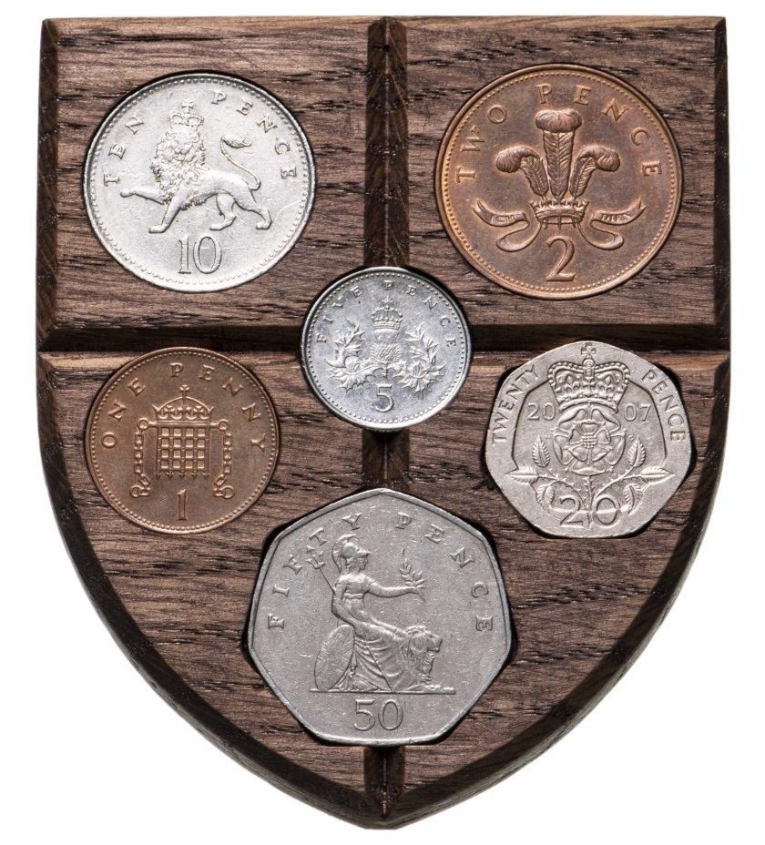 """купить Великобритания, набор монет 1982-2008 """"Щит с королевской символикой"""" (6 монет)"""