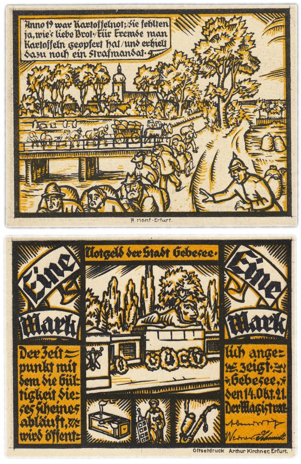 купить Германия (Саксония: Гебезее) 1 марка 1921 (410.1/B1)