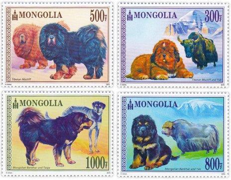 """купить Монголия набор из 4 марок 2015 """"Собаки"""""""