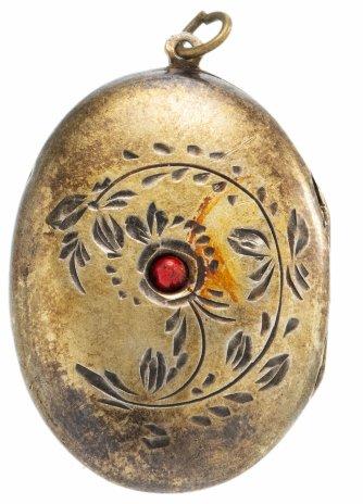 купить Кулон для фотографий с вставкой цветного камня, серебро 875 пр., позолота, СССР, 1950-1980 гг.