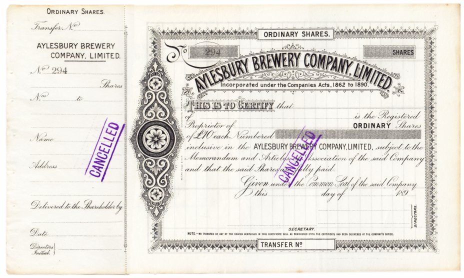 купить Акция США AYLESBURY BREWERY COMPANY, LIMITED  1895 гг.