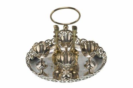купить Круэт на 4 яйца на подносе, никель с серебрением, Великобритания, 1910-1930 гг.