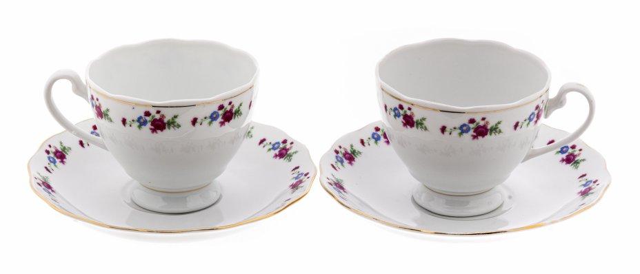 купить Дуэт чайных пар с цветочным декором, фарфор, деколь, золочение, Китай, 2000-2020 гг.