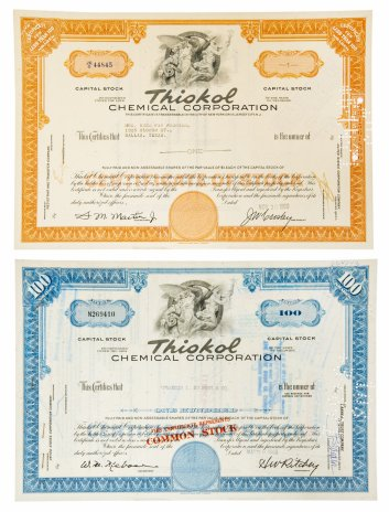 "купить Акция США  Набор"" Thikol CHEMICAL CORPORATION (Delaware), 1960-1968 гг."