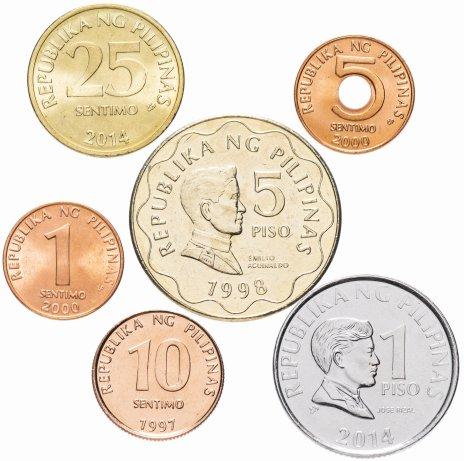 купить Филиппины набор монет 1997-2014 (6 штук, VF-XF) 4 UNC, 2 VF-XF