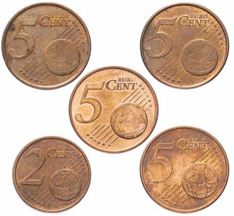 купить Набор из 5 монет евроценты 1999-2017