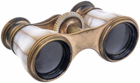 купить Бинокль театральный  в футляре декорированный перламутром, металл, кожа, перламутр, Западная Европа, 1900-1920 гг.