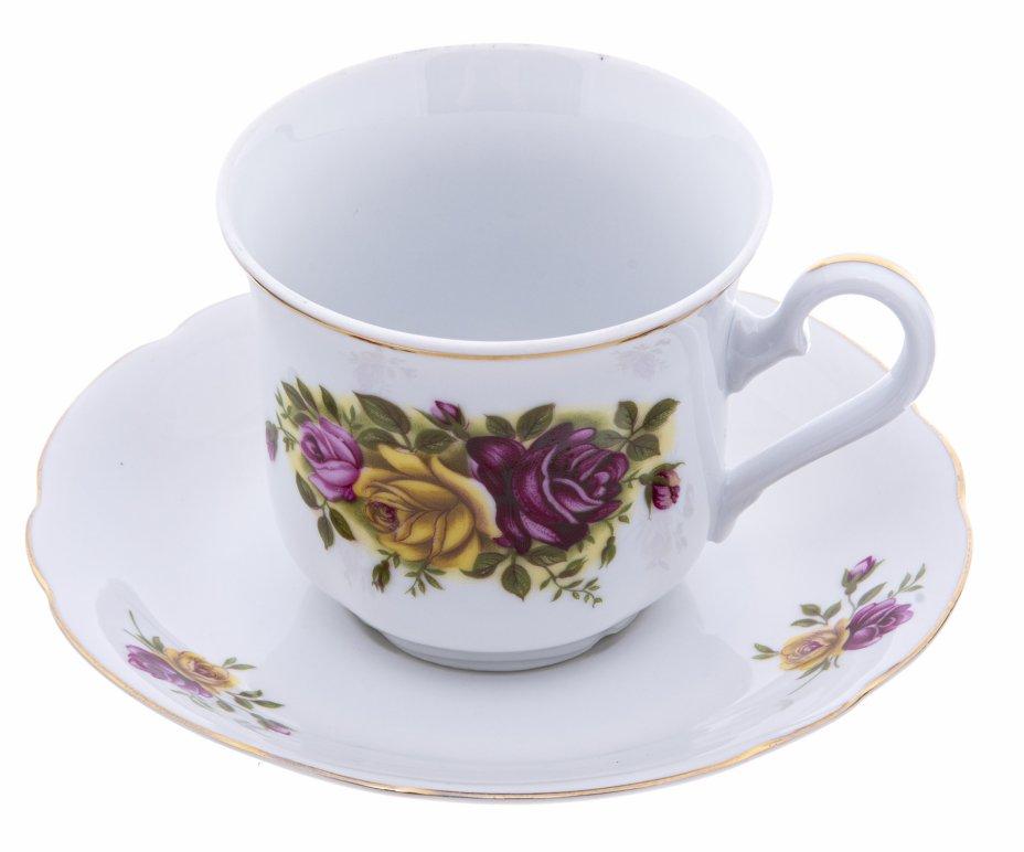 """купить Пара чайная с цветочным изображением, фарфор, деколь, фирма """"Leander"""", Чехия, 2000-2015 гг."""