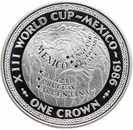 купить Остров Мэн  1 крона (crown) 1986 Чемпионат мира по футболу 1986 Мексика Карта