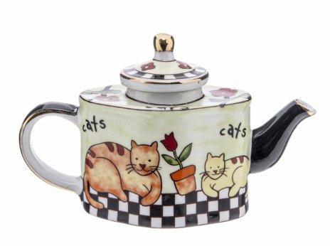 """купить Миниатюра """"Чайник"""" с изображением кошек, фарфор, деколь, золочение, компания """"Lefard"""", Китай 2015-2020 гг."""