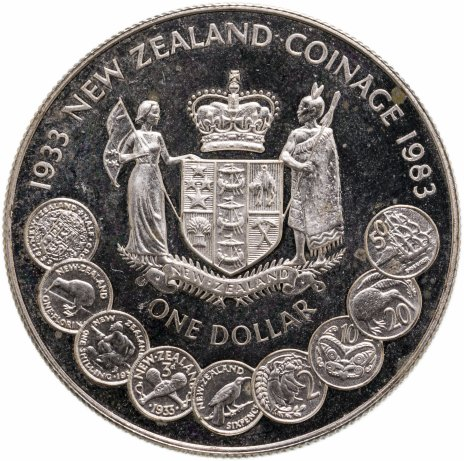 купить Новая Зеландия 1 доллар (dollar) 1983  50 лет чеканке монет Новой Зеландии