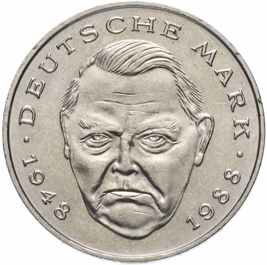 купить Германия 2марки 1990 D  Людвиг Эрхард, 40 лет Федеративной Республике (1948-1988)