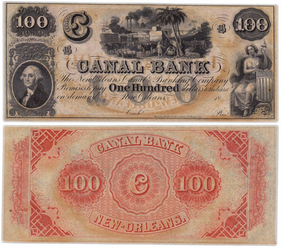 купить США 100 долларов 18__  (Canal Bank ) Новый Орлеан Луизиана