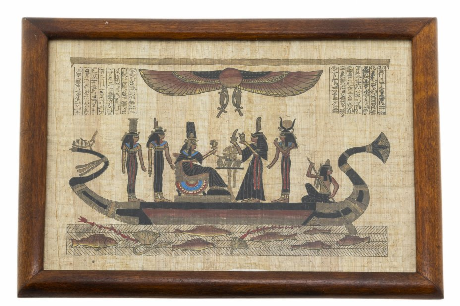 "купить Картина ""Богиня Исида и царица Астарта"", папирус, живопись, рама, стекло, Египет, 2015-2020 гг."
