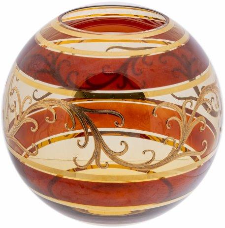 купить Ваза сферической формы из двухцветного стекла, цветное стекло, роспись, золочение, Чехословакия, 1960-1980 гг.