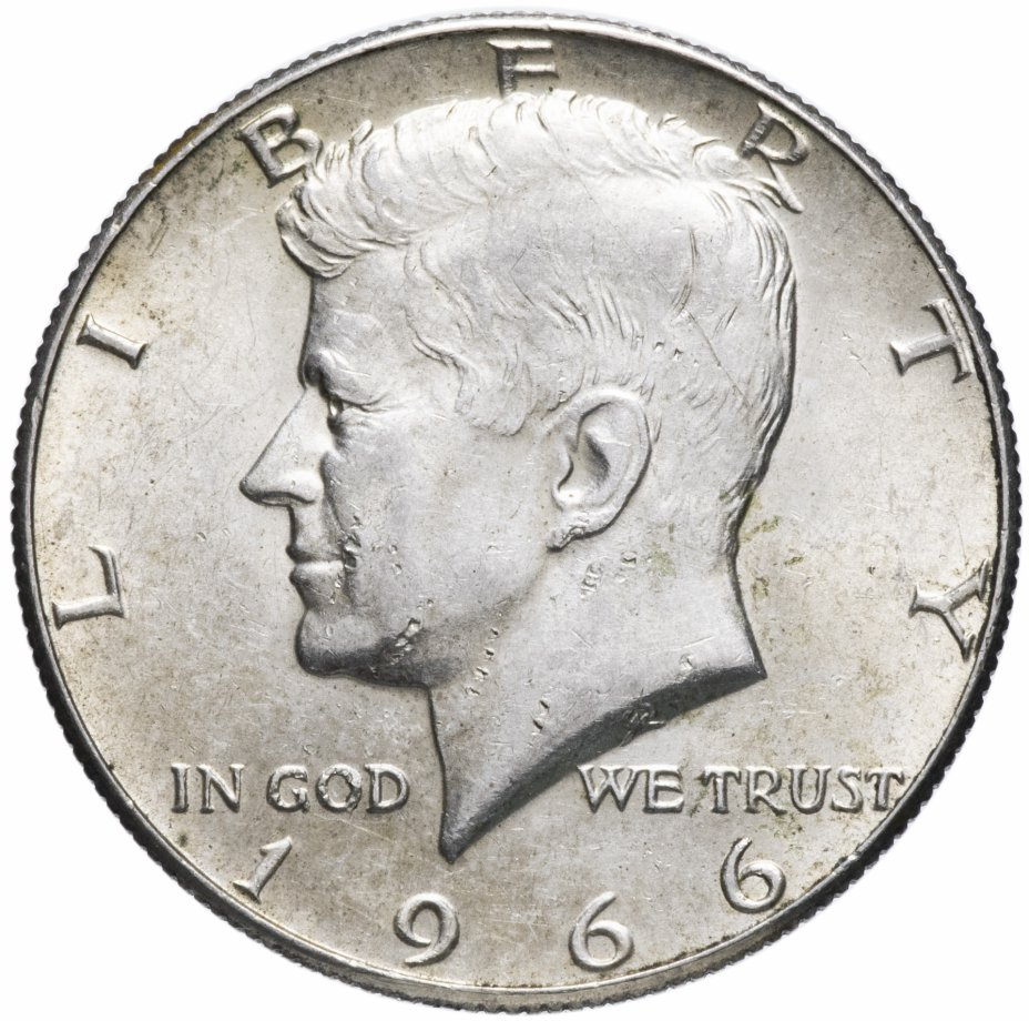 купить США 1/2 доллара (полдоллара, 50 центов, half dollar) 1966 серебро Кеннеди