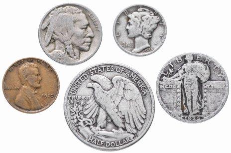 купить США комплект из 5 монет от 1 до 50 центов 1930-1945 гг.